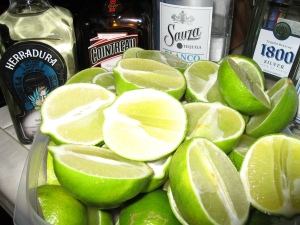 Fabulous H-Mart limes and a few nice bottles of something