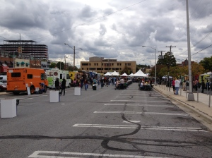 Wheaton Curbside Kickoff, view from the port-o-potties